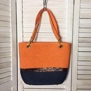Orange / Navy Woven Straw Tote